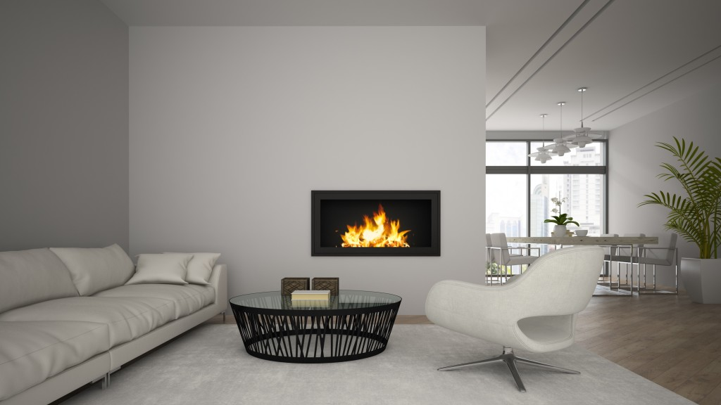 Interior of modern loft with fireplace and white sofa 3D rendering